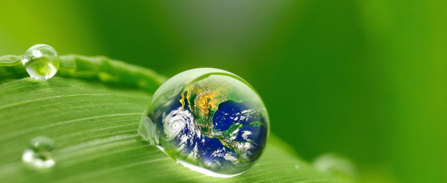 Earth seen in water drop on leaf