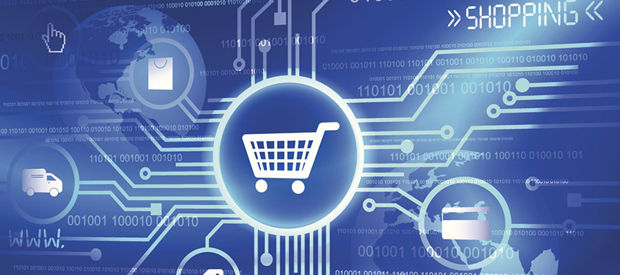 Graphic showing e-commerce shopping cart