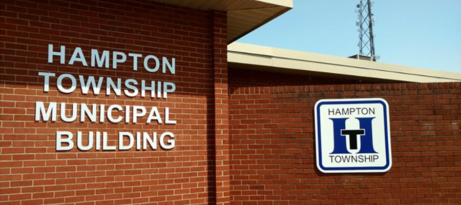 Closeup of the Hampton Township Municipal Building