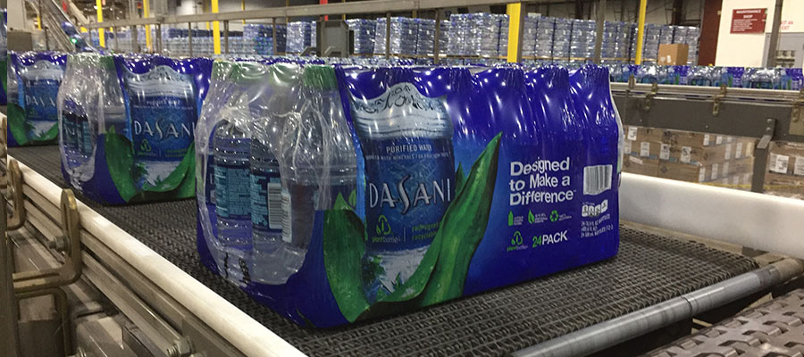 Dasani water on the Coca-Cola bottling line